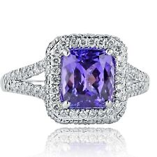 3.07 Ct Natural Cushion Cut Tanzanite Diamond Engagement Ring 18k White Gold