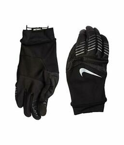 Nike Womens Storm-Fit Hybrid Running Gloves Black/Silver Athletic LARGE NRGF6003