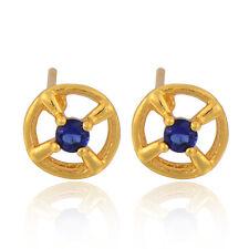 Womens Yellow Gold Filled Womens Blue Gemstones Stud Earrings Korean Jewelry