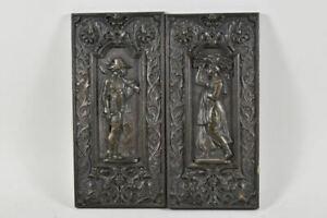 g71z71- 2x altes Eisenrelief, figürliche Ofenplatten (?)
