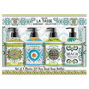 Deruta La Tasse Italian Hand Soap Pack 4 Coconut Gardenia Orange Beach 21.5 OZ
