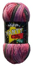 King Cole Party Glitz 4ply Knitting Yarn Sparkly Bright Wool 100g Pattern Fairy (2352)