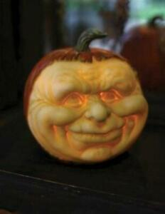 "NIB 6.5"" Carved Friar face Jack O Lantern Light up HALLOWEEN Display Prop Decor"
