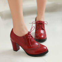 British Womens Grace Brogues Lace Up Wing Tip Pumps High Block Heels Retro Shoes