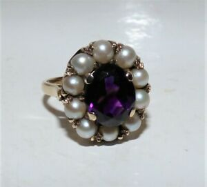 VICTORIAN STYLE 9CT GOLD AMETHYST & SPLIT PEARL RING FINE QUALITY UK O US 7.5