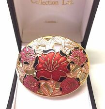 Vintage Signed Fish & Crown Cloisonne Flower Brooch Pin