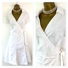 ISAAC MIZRAHI Dress size 18 White Broderie Cotton Wrap A Line Flare Summer