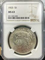 1923 US Peace Silver Dollar $1 90% NGC MS63 Collectible Coin #5911303-005