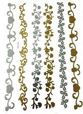 Una Volta Temporanei Tatuaggio Flash Metallico Corpo Gioielli Oro Argento Fiore