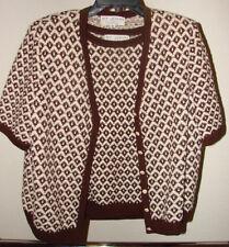 Womens St John Collection Knit Sweater Cardigan Brown White Sz M L 2 Piece Vest