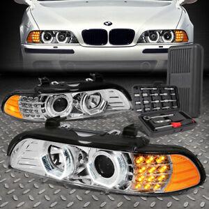 FOR 96-03 BMW E39 5-SERIES 3D LED U-HALO PROJECTOR HEADLIGHTS+TOOL SET CHROME