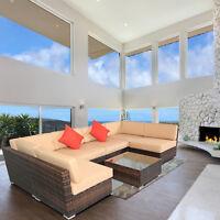 7PC Outdoor Patio Sectional Furniture PE Wicker Rattan Sofa Set Garden Backyard