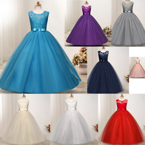 Flower Girl Lace Girls Kids Pageant Dresses Weeding Formal Gown Princess Dress