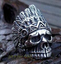 US SELLER Mens Indian Chief Skull Biker Ring Size 12316L Stainless Steel