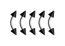 5 Black Acrylic Spike Eyebrow Steel Curved Bars 16g 8mm 3mm Spike #E5