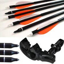 5 Fibra De Vidrio Tiro Con Arco Flechas Punta Cuchilla+Octano Whisker