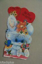Vtg Valentine Card 70's Big Eyed Eyes White Easter Bunny Rabbit Bluebird  UNUSED