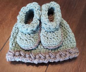 3-6M baby hat beanie bootie set gift present handmade
