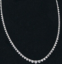8.1 carat Round Diamond Graduated Tennis 14k White Gold Necklace G-H SI1 16""