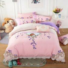Luxury 100% Cotton Bedding Set Ruffles Duvet Cover Bed Sheet Queen King 4pcs New