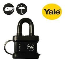 YALE WEATHERPROOF PADLOCK 35mm WITH BLACK PROTECTIVE COVER AND 3 KEYS - NEW