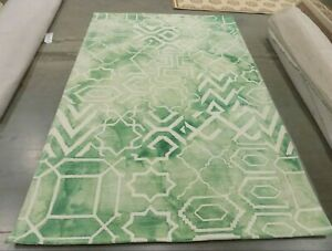 GREEN / IVORY 6' X 9' Pulled Threads Rug, Reduced Price 1172596679 DDY678Q-6