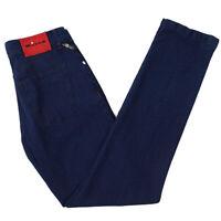 NWT $1095 KITON NAPOLI Indigo Blue Woven Cotton Jeans 34 W Modern-Fit