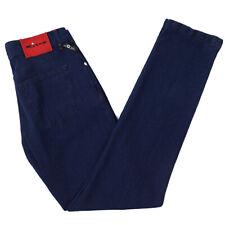 NWT $1095 KITON NAPOLI Indigo Blue Woven Cotton Jeans 38 W Modern-Fit