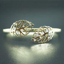 14k Gold plated with Swarovski crystals leaf filigree crystals bangle bracelet