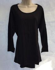 New Yours Clothing Plus Size Black Dip Hem Casual Cotton Long Top UK 18 DE38