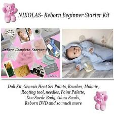 NIKOLAS Complete  REBORN Starter Beginner Kit, Genesis paints, Mohair, BODY, DVD