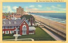 Ventnor City New Jersey~View From Pier~Homes~Hotel~Boardwalk~Beach~1939 Linen PC