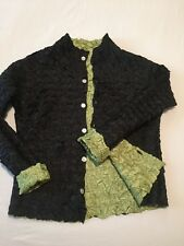 Black and Green Crinkle Button down top/jacket