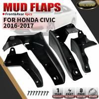 4pcs Rear & Front Wheel Splash Guards Mud Flaps for Honda Civic Sedan 2016- 2019