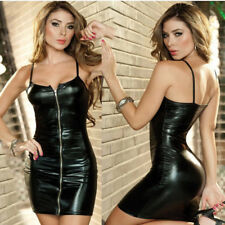Women Sexy Dress Shiny Patent Leather Dress Slim Fit  Cocktail Party Mini Dress