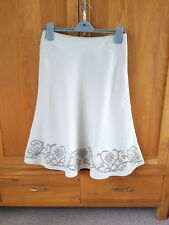 Womens embroidered linen A-line skirt size 10 Next beige natural gold black