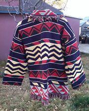 Vintage Unique Tapestry Blanket Sweater Coat Aztec Southwestern Fringe Large