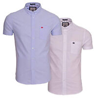 Mens Brave Soul Grandad Collar Oxford Shirt Tribune Slim fit Short Sleeved New