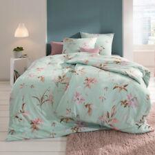 Estella Interlock Jersey Bettwäsche Tara 6865-051 Cyan Blumen Mint Rosa 135x200