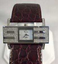 Freelook HA8176-2 ladies Swarovski watch/maroon leather strap
