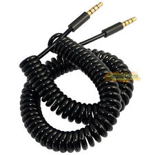 10Ft 3.5mm DC 4 Pole Male to Male Spiral Coiled Audio Aux Cable Gold Plated
