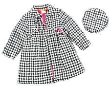 Penelope Mack Girls Checkered Part Wool Jacket W/Hat Size 5