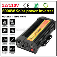 6000W Solar Power Inverter DC 12/24V to AC 110V Car Modified Sine Wave Converter