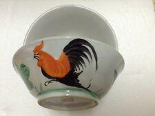 "Vintage Kitchen Bowl ""KO-KO-KEI-UA"" Cockerel Motif with Hibiscus x 2pcs"