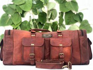 "30"" Cow Leather Travel Luggage Duffel Shoulder Weekender Bag For both Men Women"