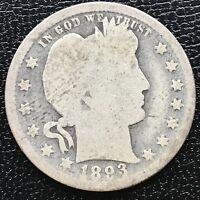 USA 1893 Barber Quarter Philadelphia Silber Selten #12566