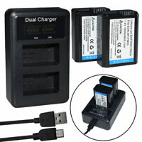2X LP-E6 LPE6 Battery + charger for Canon LP-E6N EOS 7D Mark II,5D IV,90D, 80D