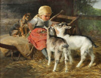 """oil painting handpainted on canvas """"arendt's girl with dog and goat """"@N10650"""