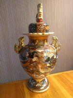 JAPANESE Satsuma Vase Urn with lid Circa 1890 Large Antique Earthenware USS