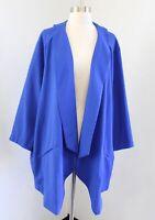NWT Melissa McCarthy Seven7 Dazzling Blue Open Draped Blazer Jacket Size 3X 3XL